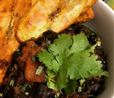 Cameroonian black beans with fried Plantains