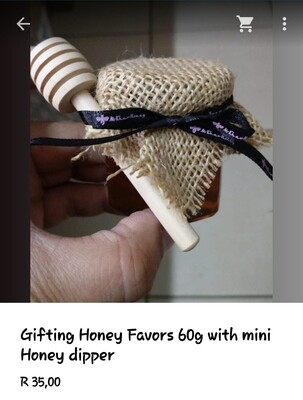 60g Honey Favor, with Hessian  cloth and wooden dipper