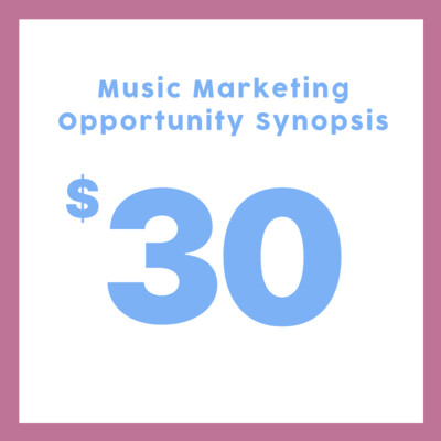 Get ready to receive your individual Music Marketing Opportunity Synopsis, tailored to your music!