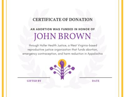 HOLLERday Abortion Certificate [digital]