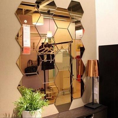 Шестигранная зеркальная акриловая наклейка для декора стен (12 шт.)