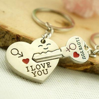 Парный брелок для ключей (сердце + ключ)