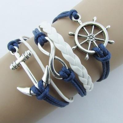 Многослойный браслет унисекс с металлическими символами якорь/бесконечность/штурвал