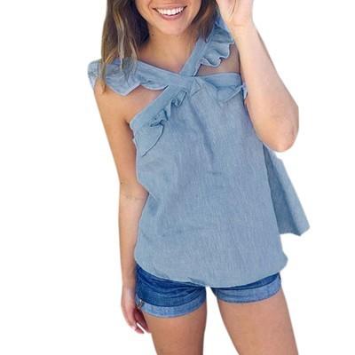 Женщины Летние рукава Tops Ruffles V Шея Повседневная блузка XL