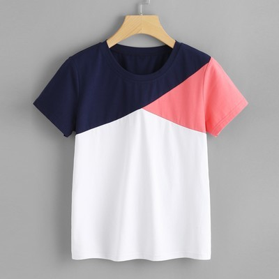 Женская мода повседневная короткая рукава O-Шея Patchwork блузка Tops T-Shirt