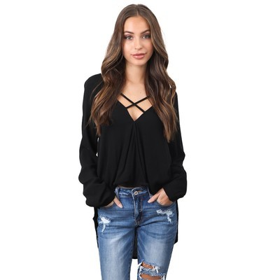 Мода женщин с длинным рукавом свободной блузки повседневная рубашка летние топы футболки