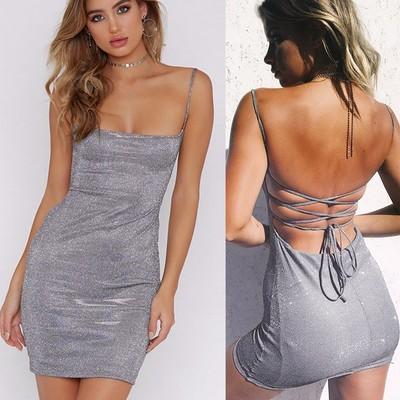 Сексуальное платье для женщин Сексуальное платье без рукавов Backless Clubwear Bodycon Dress