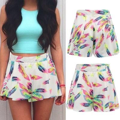 Женские перья печатные короткие штаны Случайные пляжные шорты Loose Short Trousers