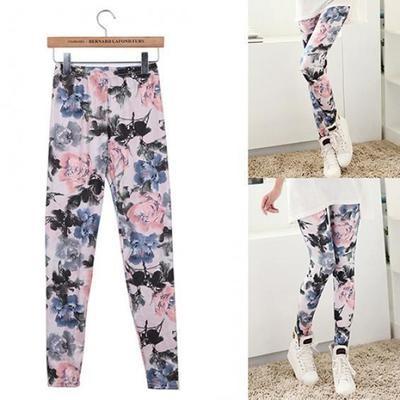 Женская ретро тонкая флористическая краска для чернильной печати Stretchy Tights Leggings Pants