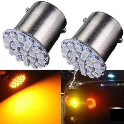 Светодиодная  лампочка в фару поворотника/фонаря заднего хода автомобиля (желтый свет DC 12V) 2 шт. 1156 1206 SMD