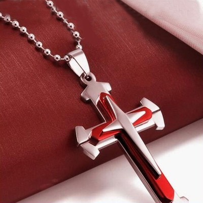 Мужская подвеска из нержавеющей стали с цепочкой (крест)