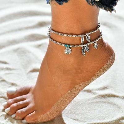 Женские летние пляжи Сандальные босиком Цепи Цепь для браслета для носков