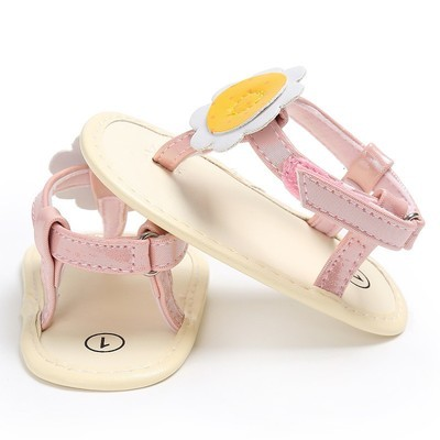 Baby Girl Summer Flower Girl Flip Flops Beach Sandals Bohemia Flat Sandals BK / 11