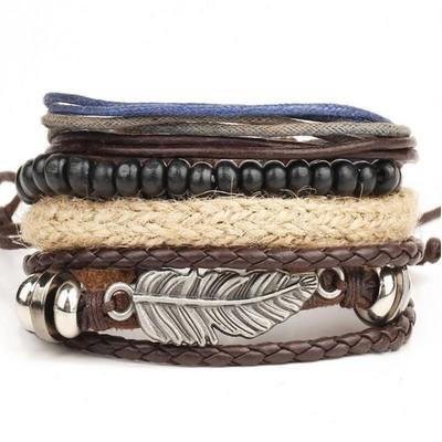 Многослойный мужской браслет из искусственной кожи с бусинами, плетеным жгутом и металлической вставкой