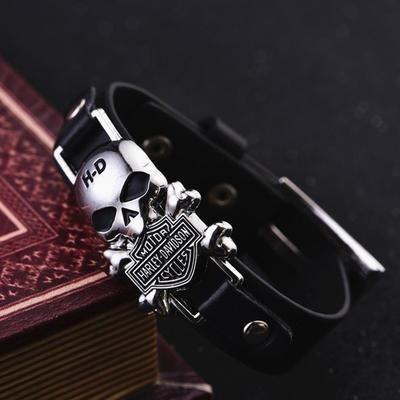 Мужской винтажный браслет из искусственной кожи с черепом
