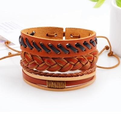 Новый мужской плетеный кожаный восковой браслет с капюшоном из браслета Браслет