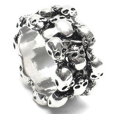 Мужское кольцо из нержавеющей стали с черепами