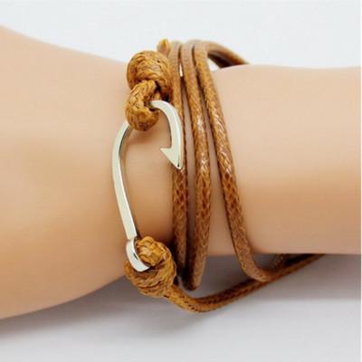 Мужской кожаный плетенный браслет с крючком