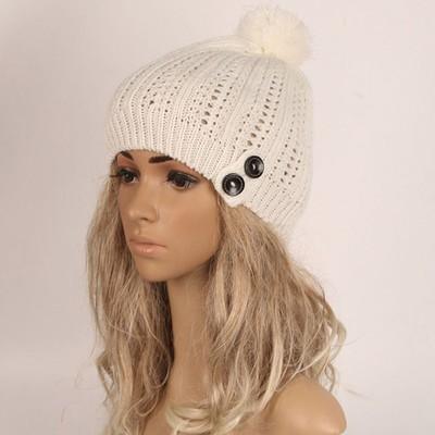 Женская кнопка Slouchy Вязание шапочки Хип-хоп Cap Теплые зимние лыжные Hat