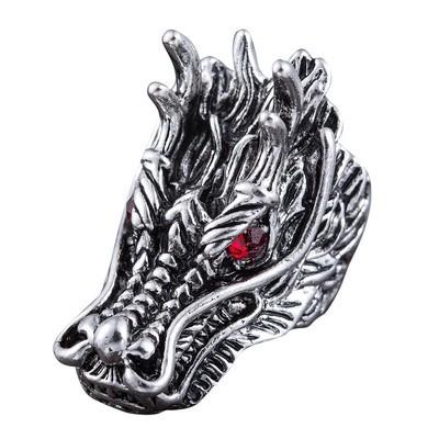 Мужское кольцо с головой дракона красными стразами, серебристого цвета