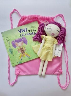 Geschenkpack Vivi mit den lila Haaren. Buch+ Doll+ Rucksack