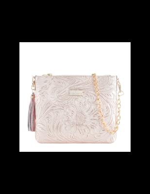 Leather bag Arena Pink Gold Cincelado