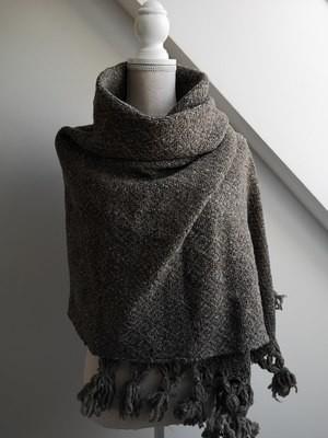Handmade Natural Wool Rebozo Brown.