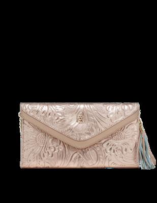 Chiseled leather clutch handbag Valentina Pink Gold