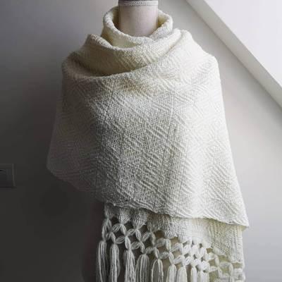 Handmade Rebozo, white.