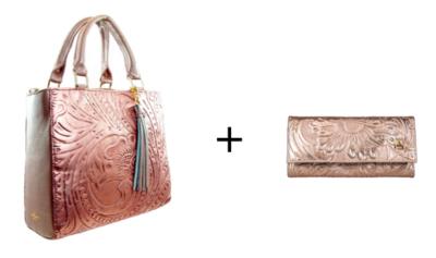 Combo Handbag Pilar Oro Rosado Cincelado + Wallet