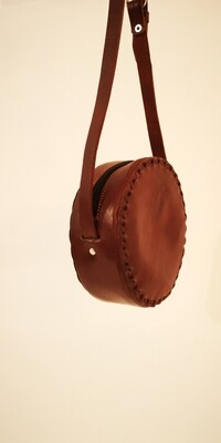 Round leather handbag
