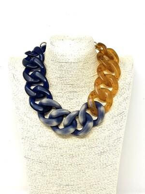 Collana GROUMETTE senape e blu