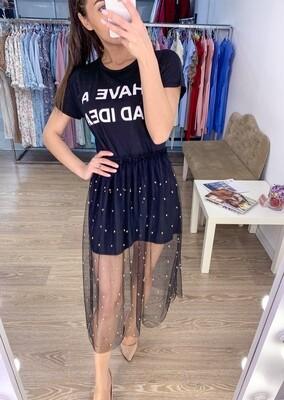 Комплект черная футболка с юбкой из фатина