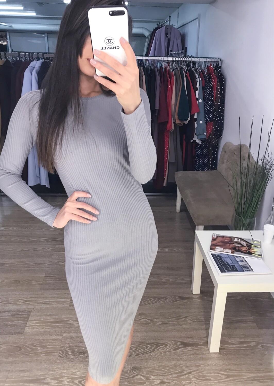 Платье-лапша серое