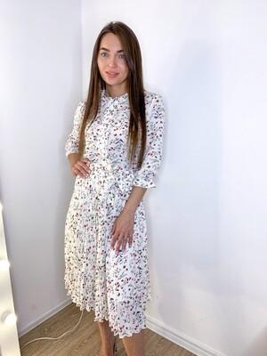 Платье миди плиссе белое в цветочек