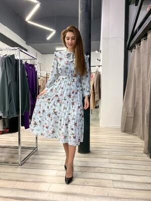 Платье миди в цветок с бантом