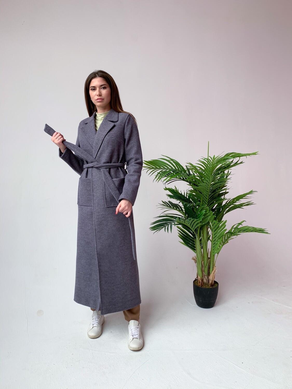 Пальто длинное с накладными карманами