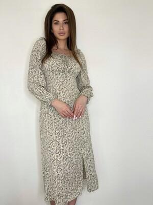 Платье миди, с квадратным вырезом в цветок Бежевый