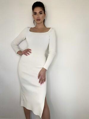 Платье миди, трикотаж с длинными рукавами Белый
