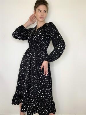 Платье миди Vвырез, крупный горох+рюша