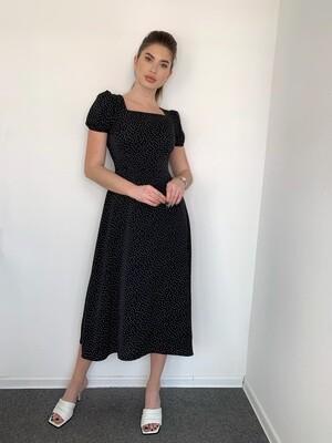 Платье миди А-силуэта в мелкий горох. с резинкой на рукавах Черный