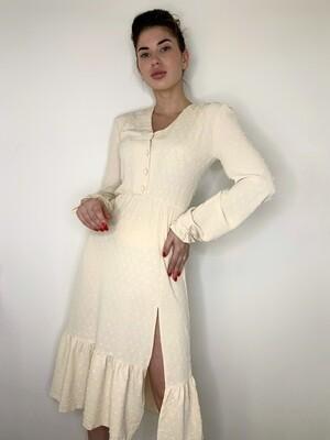 Платье миди верх на пуговицах с резинкой длинный рукав Бежевый