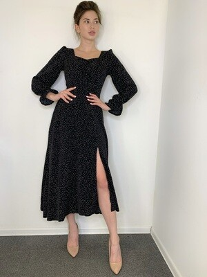 Платье миди в мелкий горох, с длин.рукав Черный