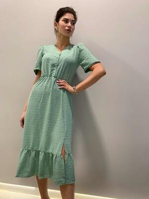 Платье миди верх на пуговицах с резинкой Мятный