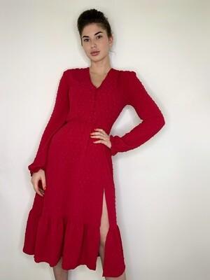 Платье миди верх на пуговицах с резинкой длинный рукав Розовый