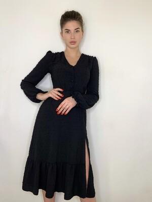 Платье миди верх на пуговицах с резинкой длинный рукав Черный