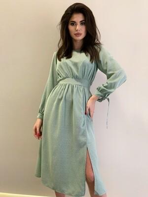 Платье миди в горох с пришит. пояс, круг. вырез Мята