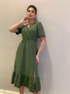 Платье миди верх на пуговицах с резинкой зеленый