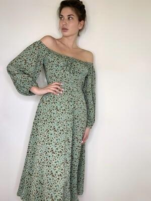 Платье миди в цветок с пуг. Мята