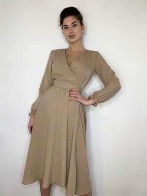 Платье миди, имитация запаха с поясом, Бежевый